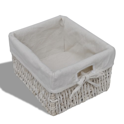 White Wooden Cabinet with 3 Left Weaving BasketsHome &amp; Garden<br>White Wooden Cabinet with 3 Left Weaving Baskets<br>