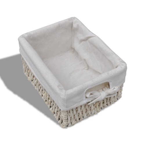 White Wooden Storage Rack 4 Weaving BasketsHome &amp; Garden<br>White Wooden Storage Rack 4 Weaving Baskets<br>