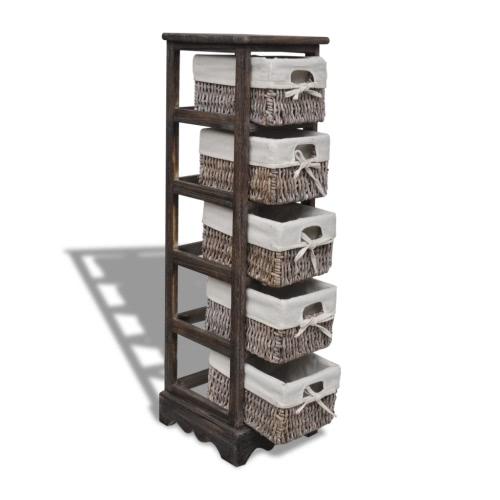 Brown Wooden Storage Rack 5 Weaving BasketsHome &amp; Garden<br>Brown Wooden Storage Rack 5 Weaving Baskets<br>