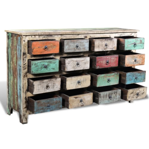 Reclaimed Wood Cabinet Storage with 16 Drawers WhiteHome &amp; Garden<br>Reclaimed Wood Cabinet Storage with 16 Drawers White<br>