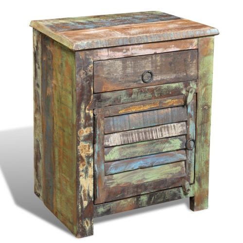 Reclaimed Wood Cabinet Multicolour End Table 1 Drawer 1 DoorHome &amp; Garden<br>Reclaimed Wood Cabinet Multicolour End Table 1 Drawer 1 Door<br>