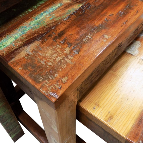 Reclaimed Wood Set of 3 Nesting Tables Vintage Antique-styleHome &amp; Garden<br>Reclaimed Wood Set of 3 Nesting Tables Vintage Antique-style<br>