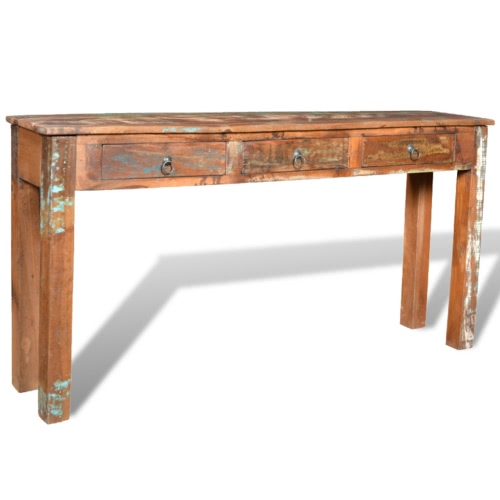 Reclaimed Wood Side Table with 3 DrawersHome &amp; Garden<br>Reclaimed Wood Side Table with 3 Drawers<br>