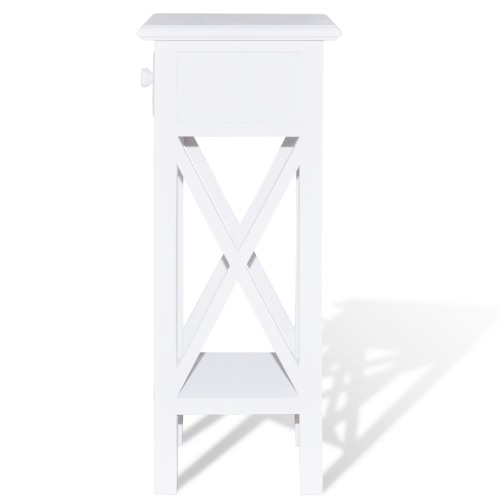 White Telephone Side Table with DrawerHome &amp; Garden<br>White Telephone Side Table with Drawer<br>