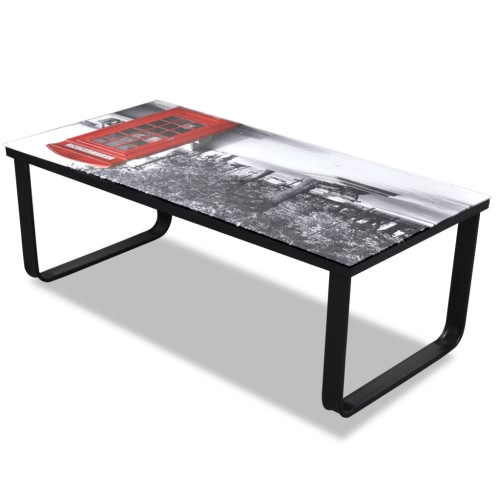 Glass Coffee Table with Telephone Booth PrintingHome &amp; Garden<br>Glass Coffee Table with Telephone Booth Printing<br>