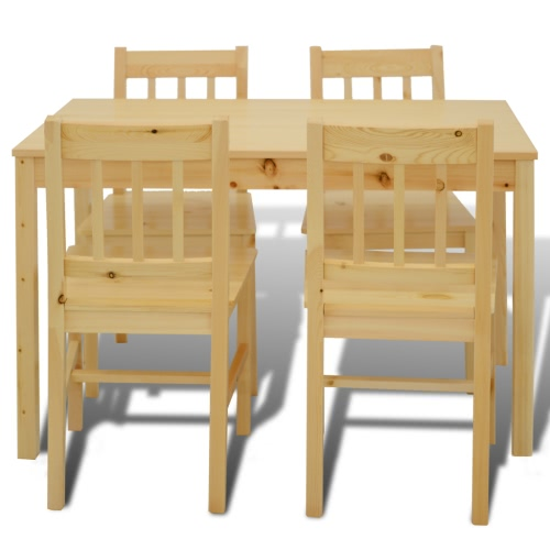 Wooden Dining Table with 4 Chairs NaturalHome &amp; Garden<br>Wooden Dining Table with 4 Chairs Natural<br>