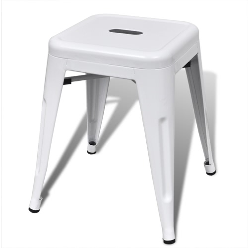 2 pcs White Stackable Small Metal StoolHome &amp; Garden<br>2 pcs White Stackable Small Metal Stool<br>