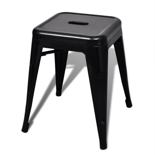 2 pcs Black Stackable Small Metal StoolHome &amp; Garden<br>2 pcs Black Stackable Small Metal Stool<br>