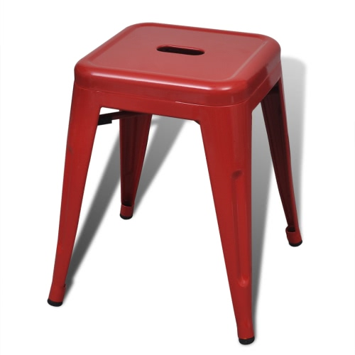 2 pcs Red Stackable Small Metal StoolHome &amp; Garden<br>2 pcs Red Stackable Small Metal Stool<br>