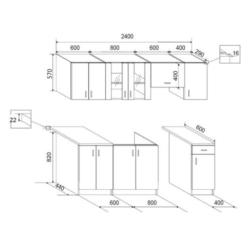 7 pcs High Gloss White Kitchen Cabinet Unit 240 cmHome &amp; Garden<br>7 pcs High Gloss White Kitchen Cabinet Unit 240 cm<br>