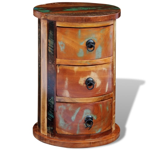 Reclaimed Solid Wood Round Cabinet with 3 DrawersHome &amp; Garden<br>Reclaimed Solid Wood Round Cabinet with 3 Drawers<br>