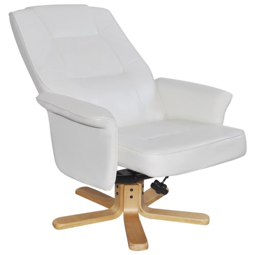 White Artificial Leather TV Armchair with Foot StoolHome &amp; Garden<br>White Artificial Leather TV Armchair with Foot Stool<br>
