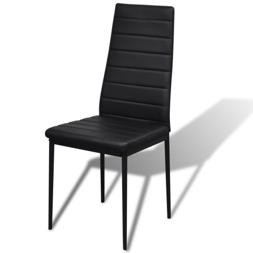 Contemporary Dining Set with Table and 4 Chairs BlackHome &amp; Garden<br>Contemporary Dining Set with Table and 4 Chairs Black<br>