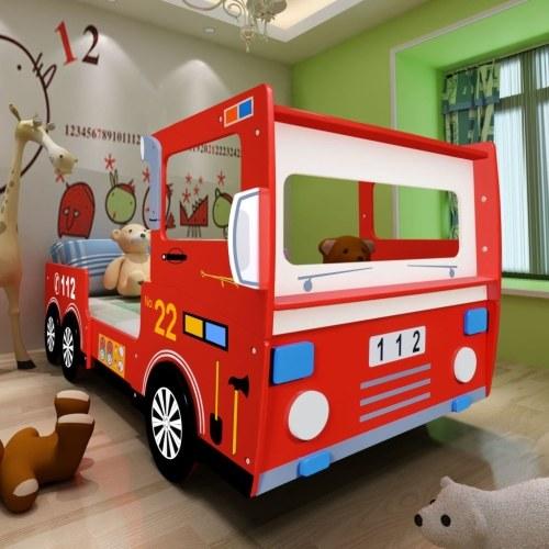 Cama del motor de bomberos infantil 200x90 cm Rojo