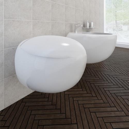 Wall Hung Toilet &amp; Bidet Set White CeramicHome &amp; Garden<br>Wall Hung Toilet &amp; Bidet Set White Ceramic<br>