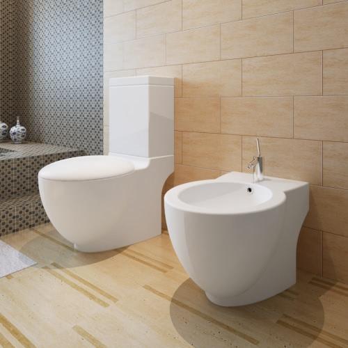 Stand Toilet &amp; Bidet Set White CeramicHome &amp; Garden<br>Stand Toilet &amp; Bidet Set White Ceramic<br>