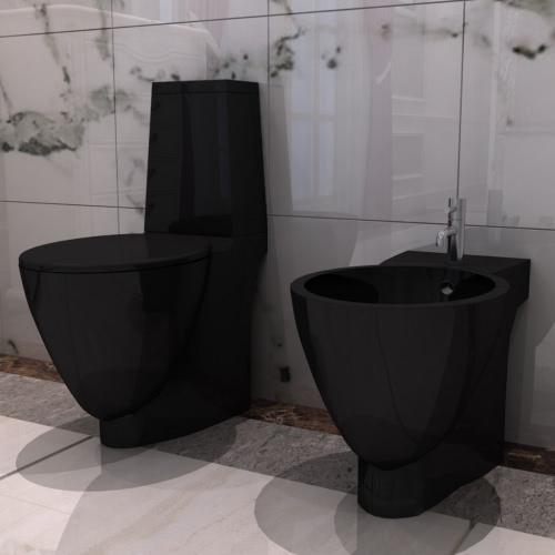 ブラックセラミックトイレ&ビデセット