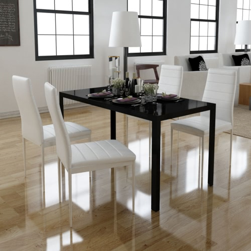 Set of 4 white dining chairs + 1 table contemporary design