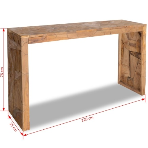 Eroded teak console table 120x35x76 cm