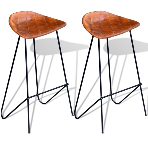 Set of 2 Bar Stools in Genuine Brown Leather