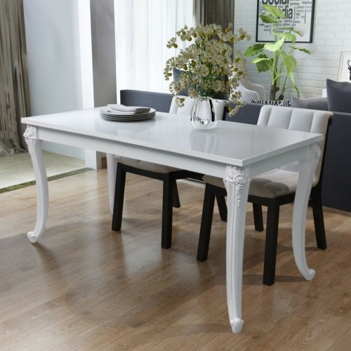 Dining Table 120x70x76 cm Glossy White