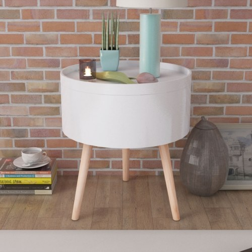 Coffee Table with Round Tray 39.5x44.5 cm White
