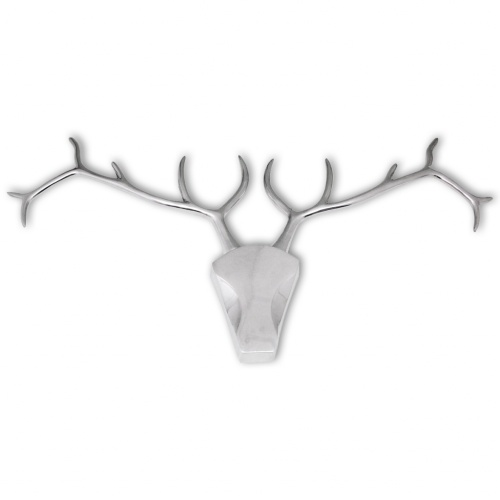 Deer Head Decoration with Silver Aluminum Wall Hooks