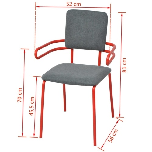 4 Pcs Dining Room Chairs / Red and Gray Armchairs