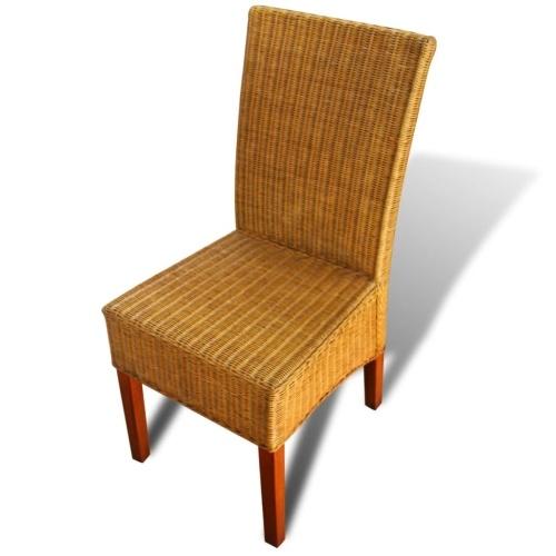 Cadeiras de sala de jantar de 6 peças marrom Rattan