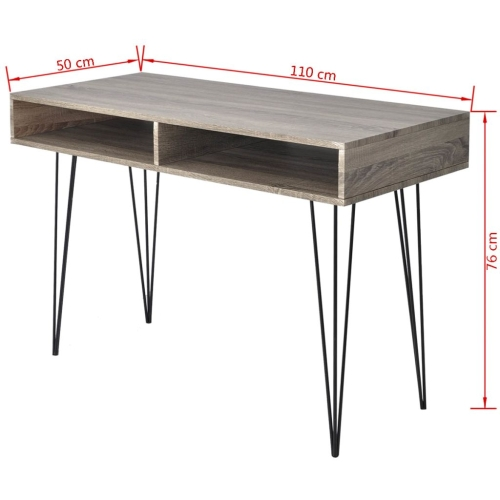 Desk with 2 Compartments GreyHome &amp; Garden<br>Desk with 2 Compartments Grey<br>