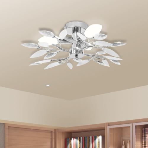 Ceiling Lamp White &amp; Transparent Acrylic Crystal Leaf Arms 3 E14 BulbsHome &amp; Garden<br>Ceiling Lamp White &amp; Transparent Acrylic Crystal Leaf Arms 3 E14 Bulbs<br>