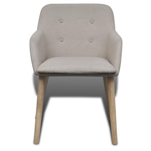 Oak Indoor Fabric Dining Chair Set 2 pcs with Armrest BeigeHome &amp; Garden<br>Oak Indoor Fabric Dining Chair Set 2 pcs with Armrest Beige<br>