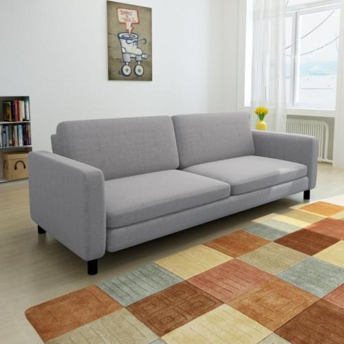 3-Seater Sofa Light Grey FabricHome &amp; Garden<br>3-Seater Sofa Light Grey Fabric<br>