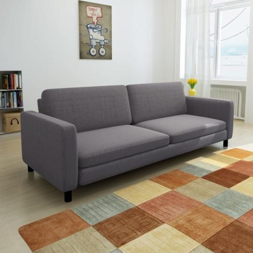 Sofá de 3 lugares tecido cinza escuro