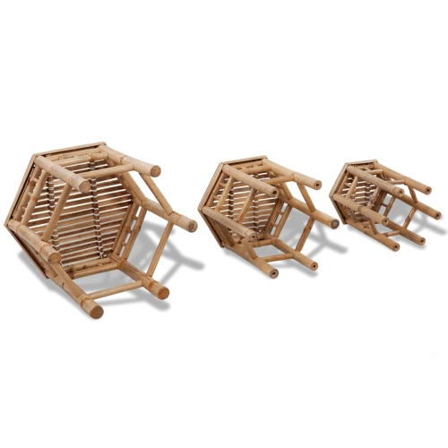 3 pcs Hexagonal Bamboo Stool SetHome &amp; Garden<br>3 pcs Hexagonal Bamboo Stool Set<br>