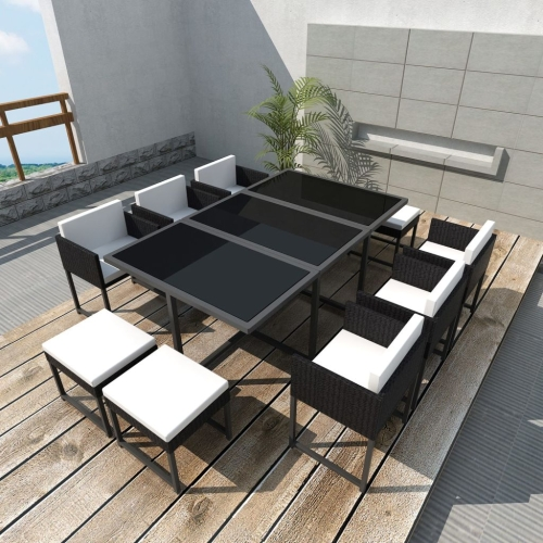 27 Piece Outdoor Dining Set Black Poly RattanHome &amp; Garden<br>27 Piece Outdoor Dining Set Black Poly Rattan<br>