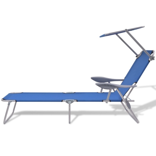 Outdoor Sun Lounger with Canopy Blue Steel 58x189x27 cmHome &amp; Garden<br>Outdoor Sun Lounger with Canopy Blue Steel 58x189x27 cm<br>
