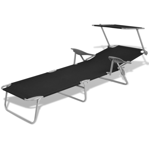 Outdoor Sun Lounger with Canopy Black Steel 58x189x27 cmHome &amp; Garden<br>Outdoor Sun Lounger with Canopy Black Steel 58x189x27 cm<br>