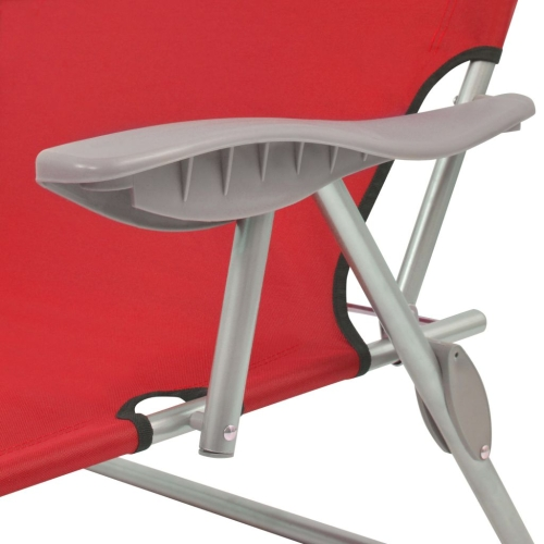 Outdoor Sun Lounger with Canopy Red Steel 58x189x27 cmHome &amp; Garden<br>Outdoor Sun Lounger with Canopy Red Steel 58x189x27 cm<br>