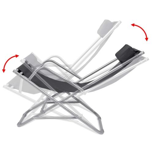 Reclining Deck Chairs 2 pcs Black Steel 69x61x94 cmHome &amp; Garden<br>Reclining Deck Chairs 2 pcs Black Steel 69x61x94 cm<br>
