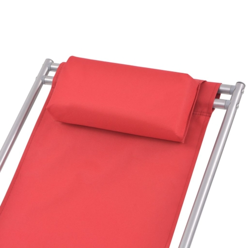 Reclining Deck Chairs 2 pcs Red Steel 69x61x94 cmHome &amp; Garden<br>Reclining Deck Chairs 2 pcs Red Steel 69x61x94 cm<br>
