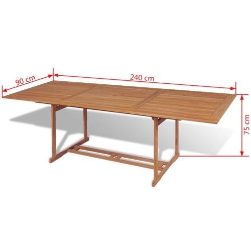Outdoor Dining Table Rectangular 240x90x75 cm TeakHome &amp; Garden<br>Outdoor Dining Table Rectangular 240x90x75 cm Teak<br>