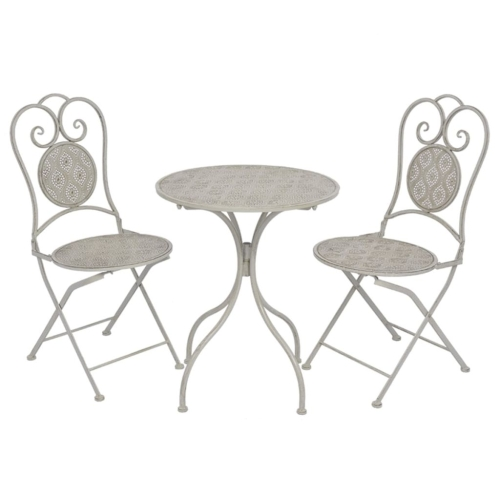 Three Piece Bistro Set Steel GreyHome &amp; Garden<br>Three Piece Bistro Set Steel Grey<br>
