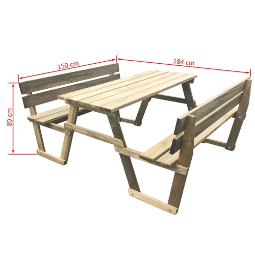Picnic Table with 2 Benches Impregnated PinewoodHome &amp; Garden<br>Picnic Table with 2 Benches Impregnated Pinewood<br>