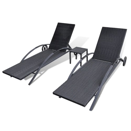 Outdoor Rattan Set 2 Sunbeds 1 Table BlackHome &amp; Garden<br>Outdoor Rattan Set 2 Sunbeds 1 Table Black<br>