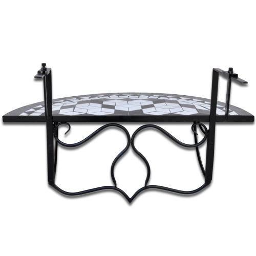 Mosaic Balcony Table Hanging Semi-circular Black WhiteHome &amp; Garden<br>Mosaic Balcony Table Hanging Semi-circular Black White<br>
