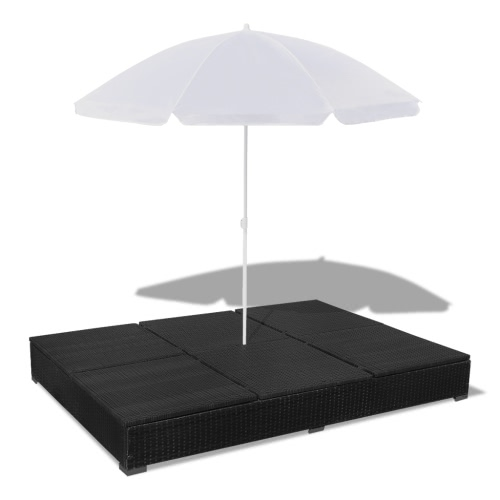 Luxury Outdoor Poly Rattan Sun Lounger 2 Persons with Umbrella BlackHome &amp; Garden<br>Luxury Outdoor Poly Rattan Sun Lounger 2 Persons with Umbrella Black<br>