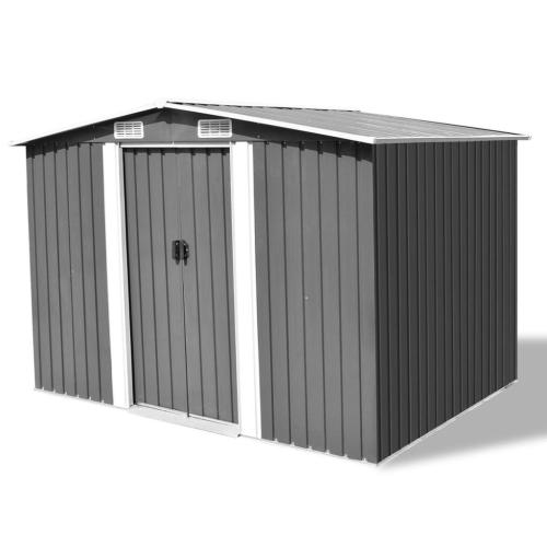 Galpão de armazenamento de jardim Cinzento Metal 257x205x178 cm