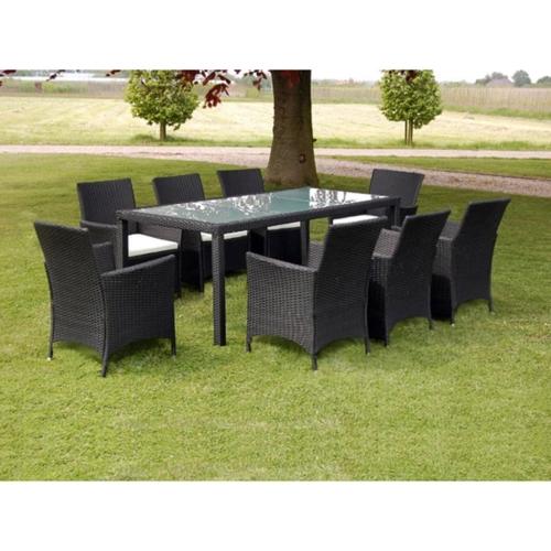 Juego de muebles de jardín de 17 piezas Poly Rattan Black