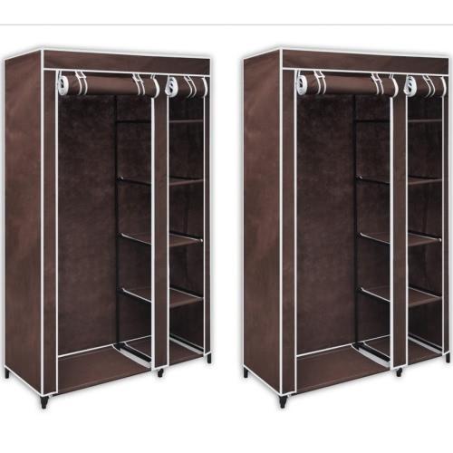 2 x Folding Wardrobe BrownHome &amp; Garden<br>2 x Folding Wardrobe Brown<br>